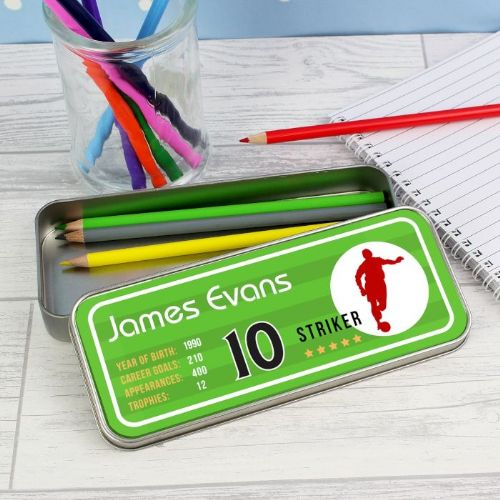 Personalised Football Pencil Tin with Pencil Crayons